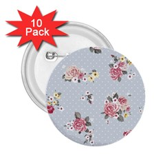 Floral Blue 2 25  Buttons (10 Pack)  by 8fugoso