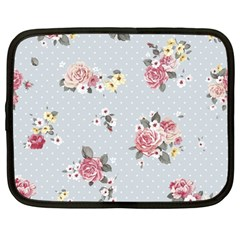 Floral Blue Netbook Case (large) by 8fugoso