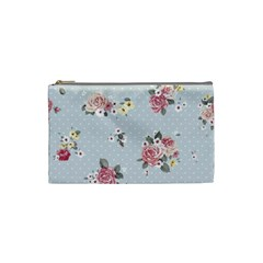 Floral Blue Cosmetic Bag (small)  by 8fugoso