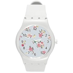 Floral Blue Round Plastic Sport Watch (m) by 8fugoso