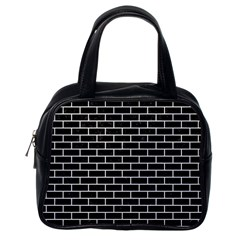 Brick1 Black Marble & White Linen (r) Classic Handbags (one Side) by trendistuff