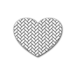 Brick2 Black Marble & White Linen Rubber Coaster (heart)  by trendistuff