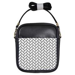 Brick2 Black Marble & White Linen Girls Sling Bags by trendistuff