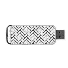 Brick2 Black Marble & White Linen Portable Usb Flash (two Sides) by trendistuff