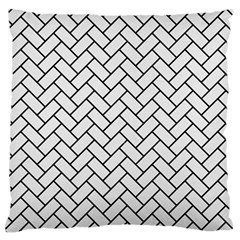 Brick2 Black Marble & White Linen Large Flano Cushion Case (two Sides) by trendistuff