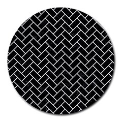 Brick2 Black Marble & White Linen (r) Round Mousepads by trendistuff