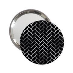 Brick2 Black Marble & White Linen (r) 2 25  Handbag Mirrors by trendistuff