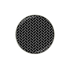 Brick2 Black Marble & White Linen (r) Hat Clip Ball Marker (10 Pack) by trendistuff