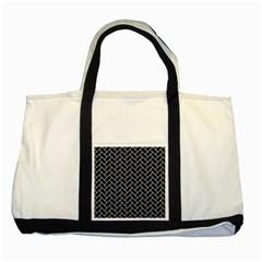 Brick2 Black Marble & White Linen (r) Two Tone Tote Bag by trendistuff