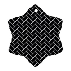 Brick2 Black Marble & White Linen (r) Ornament (snowflake) by trendistuff