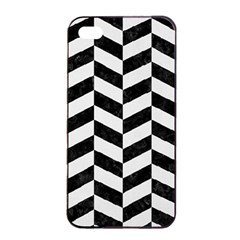 Chevron1 Black Marble & White Linen Apple Iphone 4/4s Seamless Case (black) by trendistuff