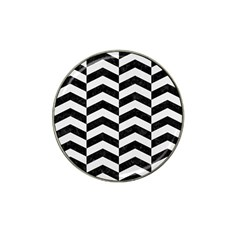 Chevron2 Black Marble & White Linen Hat Clip Ball Marker (10 Pack) by trendistuff