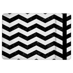 Chevron3 Black Marble & White Linen Ipad Air Flip by trendistuff