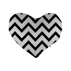 Chevron9 Black Marble & White Linen Standard 16  Premium Flano Heart Shape Cushions by trendistuff