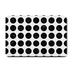 Circles1 Black Marble & White Linen Small Doormat  by trendistuff