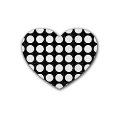 Circles1 Black Marble & White Linen (r) Rubber Coaster (heart)  by trendistuff