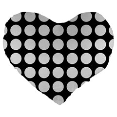 Circles1 Black Marble & White Linen (r) Large 19  Premium Flano Heart Shape Cushions by trendistuff