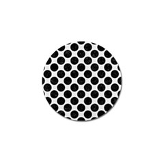 Circles2 Black Marble & White Linen Golf Ball Marker by trendistuff