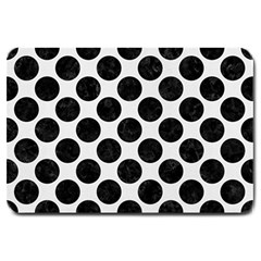 Circles2 Black Marble & White Linen Large Doormat  by trendistuff