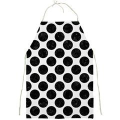 Circles2 Black Marble & White Linen Full Print Aprons by trendistuff
