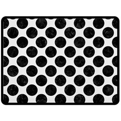 Circles2 Black Marble & White Linen Double Sided Fleece Blanket (large)  by trendistuff