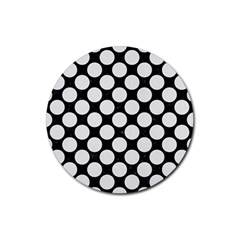 Circles2 Black Marble & White Linen (r) Rubber Round Coaster (4 Pack)  by trendistuff