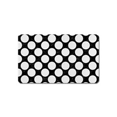 Circles2 Black Marble & White Linen (r) Magnet (name Card) by trendistuff