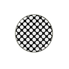 Circles2 Black Marble & White Linen (r) Hat Clip Ball Marker (10 Pack) by trendistuff