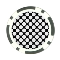 Circles2 Black Marble & White Linen (r) Poker Chip Card Guard by trendistuff