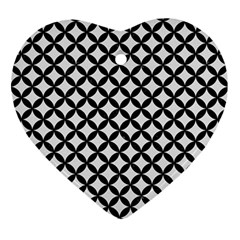 Circles3 Black Marble & White Linen Ornament (heart) by trendistuff