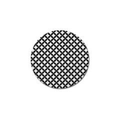 Circles3 Black Marble & White Linen Golf Ball Marker by trendistuff