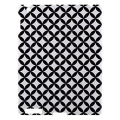 Circles3 Black Marble & White Linen Apple Ipad 3/4 Hardshell Case by trendistuff