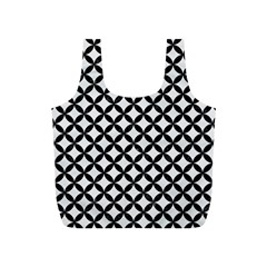 Circles3 Black Marble & White Linen Full Print Recycle Bags (s)