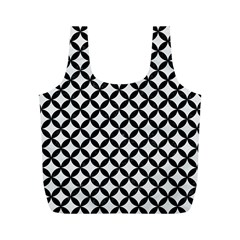 Circles3 Black Marble & White Linen Full Print Recycle Bags (m)  by trendistuff