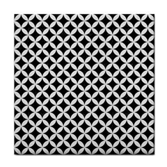 Circles3 Black Marble & White Linen (r) Face Towel by trendistuff