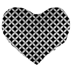 Circles3 Black Marble & White Linen (r) Large 19  Premium Flano Heart Shape Cushions by trendistuff
