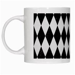 Diamond1 Black Marble & White Linen White Mugs by trendistuff