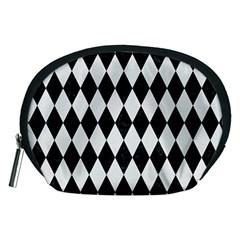 Diamond1 Black Marble & White Linen Accessory Pouches (medium)  by trendistuff
