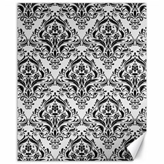 Damask1 Black Marble & White Linen Canvas 16  X 20   by trendistuff