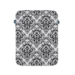 Damask1 Black Marble & White Linen Apple Ipad 2/3/4 Protective Soft Cases by trendistuff