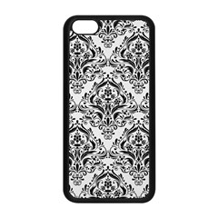 Damask1 Black Marble & White Linen Apple Iphone 5c Seamless Case (black) by trendistuff