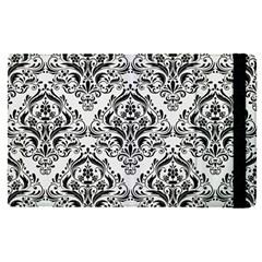 Damask1 Black Marble & White Linen Apple Ipad Pro 12 9   Flip Case by trendistuff