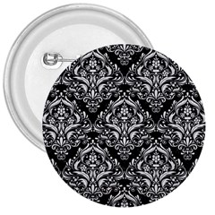 Damask1 Black Marble & White Linen (r) 3  Buttons by trendistuff
