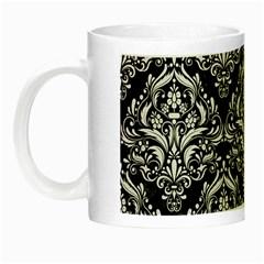 Damask1 Black Marble & White Linen (r) Night Luminous Mugs by trendistuff