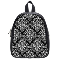 Damask1 Black Marble & White Linen (r) School Bag (small) by trendistuff