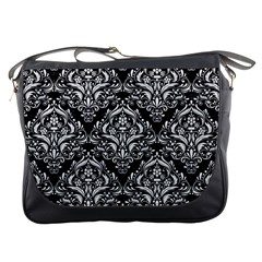 Damask1 Black Marble & White Linen (r) Messenger Bags by trendistuff