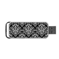 Damask1 Black Marble & White Linen (r) Portable Usb Flash (two Sides) by trendistuff