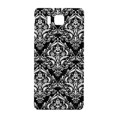 Damask1 Black Marble & White Linen (r) Samsung Galaxy Alpha Hardshell Back Case by trendistuff