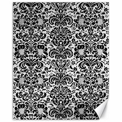 Damask2 Black Marble & White Linen Canvas 16  X 20   by trendistuff