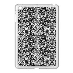 Damask2 Black Marble & White Linen (r) Apple Ipad Mini Case (white) by trendistuff